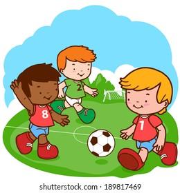 Soccer kids. Three little boys play football.