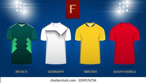 Soccer kit or football jersey template design for national football team. Front view soccer uniform mock up on dot pattern background. Football t-shirt for world soccer tournament. Vector Illustration
