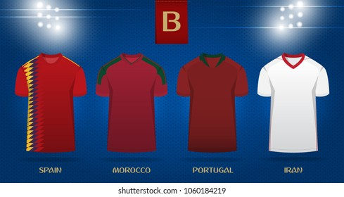 Soccer kit or football jersey template design for national football team. Front view soccer uniform mock up on dot pattern background. Football t-shirt for world soccer tournament. Vector Illustration