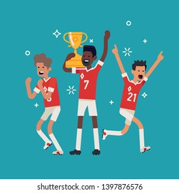 Soccer league champions concept vector illustration with soccer team players celebrating golden cup they just won. Cheerful football trophy winning