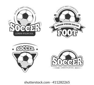 Soccer league club vector badges, labels. Soccer ball, and soccer label, badge and emblem soccer club illustration