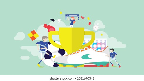 Soccer League Tiny People Character Concept Vector Illustration, Suitable For Wallpaper, Banner, Background, Card, Book Illustration, Web Landing Page, and Other Related Creative