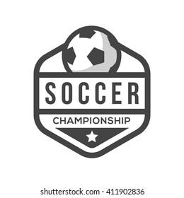 Soccer Logo, Black and White, Vintage Style.
