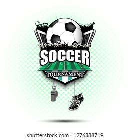 Soccer logo design template. Football emblem pattern. Soccer ball, gate, fans, field, shield, whistle and football boots on background with bubbles. Vector illustration