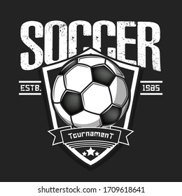 Soccer logo design template. Football emblem pattern. Vintage style on isolated background. Print on t-shirt graphics. Vector illustration
