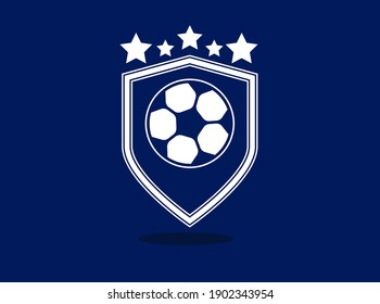 Soccer logo or football club sign Badges. Football logo with shield background vector design