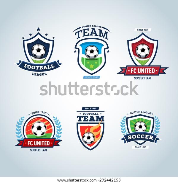 Soccer Logo Football Logo Set Soccer Stock Vector (Royalty
