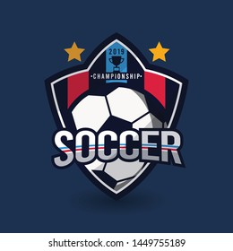 Soccer logo or football sign badge. Football logo background vector design