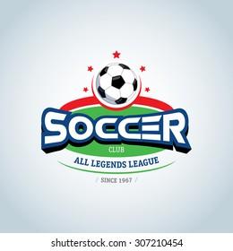 Soccer logo. Green, red and dark blue soccer football badge logo design template, sport logotype template. Soccer Themed T shirt. Football logo. Vector illustration.
