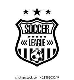 Soccer logo template design. Football logo. Black and White. Vintage Style. Vector illustration