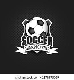Soccer logo template design. Football logo. Black and White. Vintage Style. Isolated on black background. Vector illustration