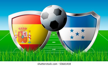 Soccer match in South Africa 2010. Shiny football shield of national flag. Abstract illustration vector on colorful background with grass.