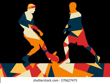 Soccer men football players active sport silhouettes vector abstract mosaic background illustration