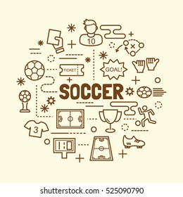 soccer minimal thin line icons set, vector illustration design elements