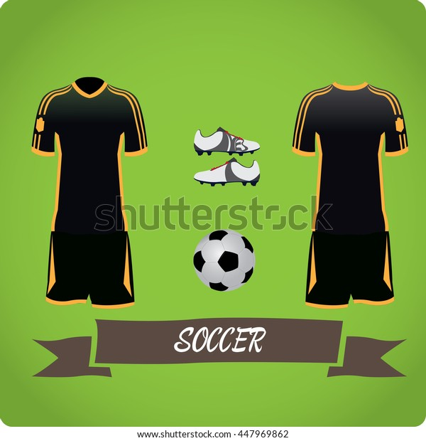 Soccer objects, Sport uniform, Vector illustration