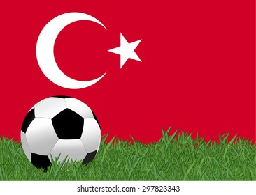 soccer on the football field with Turkey flag background, Turkey is the participating team in football tournament at France on 2016