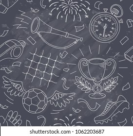Soccer pattern on a chalkboard