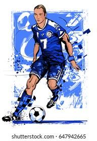Soccer player in action on grunge background - vector illustration