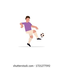 Soccer player. Active game of European football. Flat style. Vector illustration