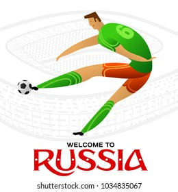 Soccer player against the background of the stadium. Welcome to Russia. Football player in championship. Fool color vector illustration in flat style isolated on white background.
