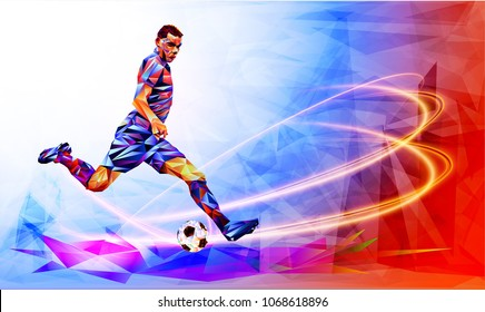 Soccer player against the background of the stadium FIFA world cup.  Football player in Russia 2018. Fool color vector illustration in triangular style isolated on white background.
