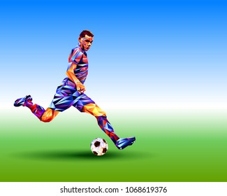 Soccer player against the background of the stadium.  Football player in Full color vector illustration in triangular style isolated on white background.