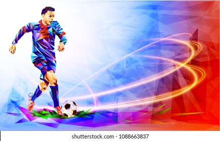 Soccer player against the background of the stadium Football player full color vector illustration in triangular style isolated on white background.