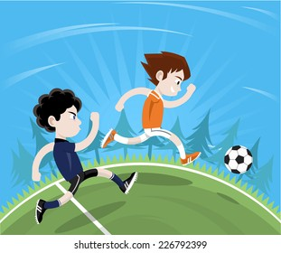 Soccer player anticipating football move going to the ball first. Vector illustration cartoon.
