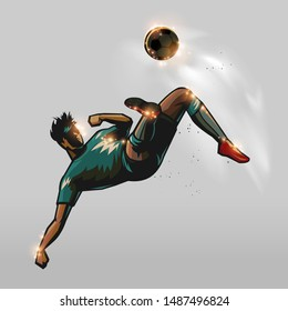 Soccer player back to kick a ball in the air design