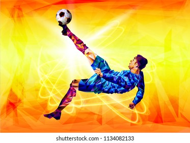 Soccer player the background of the stadium FIFA world cup. Welcome to Russia. Football player in Russia 2018. Fool colour vector illustration in flat style isolated on white background.