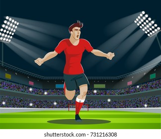 Soccer Player with Ball in stadium. Light, stands, fans. Vector Illustration