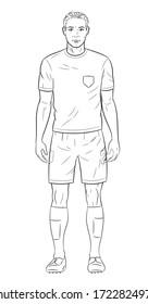 Soccer player black and white illustration