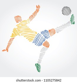 Soccer player from Brazil stretching the body to dominate the ball, made of colorful strokes on light background