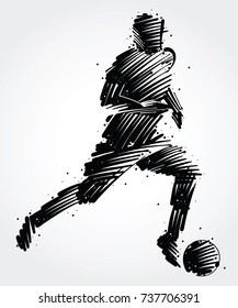 Soccer player carrying the ball made of colorful brushstrokes