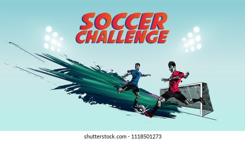 Soccer player Challenge vector football  world cup concept soccer game championship concept banner