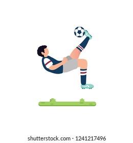 soccer player is doing an overhead kick