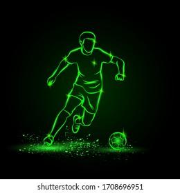 Soccer player dribbling with ball. Vector Football sport green neon illustration.
