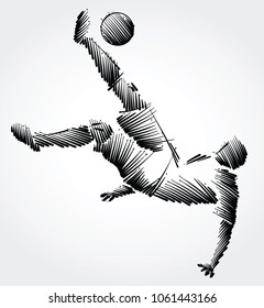 Soccer player falling trying to kick the ball made of black brushstrokes on light background