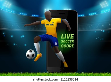 soccer player with field stadium background and mobile live vector illustration