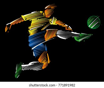 soccer player flying to kick the ballmade ofcolorful brushstrokeson dark background