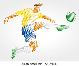 soccer player flying to kick the ballmade ofcolorful brushstrokeson light background