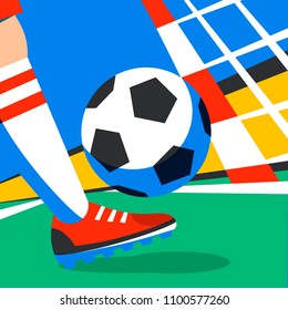 Soccer player with football ball against the background of the stadium football cup. Welcome to Russia. Football player in Russia. penalty. Full color illustration in flat style. Vector illustration