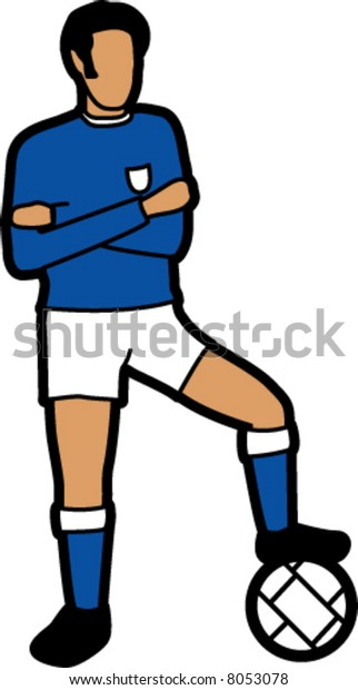 Soccer Player With Football (Blue)