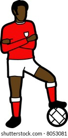 Soccer Player With Football (Red)