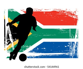 soccer player in front of the South African flag