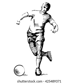 Soccer player, hand made drawing over white background