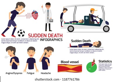 soccer player having a sudden death attack infographics, medical and health concept in heart attack or sudden death, stroke, vector illustration.