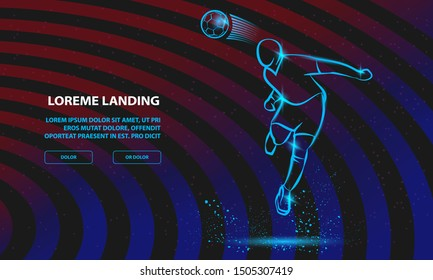 Soccer player heading the ball. Vector silhouette of a footballer jump and soccer ball. Vector Football Sport Background for Landing Page Template.