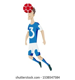 Soccer player heading the ball. Vector silhouette of a footballer jump and soccer ball. Vector outline of soccer player with scribble doodles.