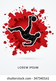 Soccer player hit the ball, Bicycle Kick designed on splash blood background graphic vector.